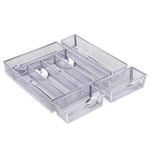 Mesh Kitchen Drawer Organizer, 5+3 Separate Compartments Silverware Organizer/Cutlery Tray, Flatware Tray Utensil Silverware Storage with Anti-slip Mats