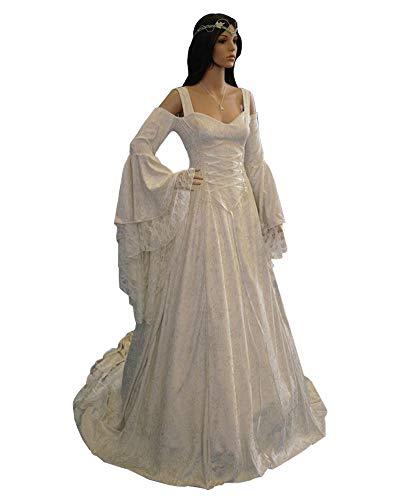 LY-VV Womens Plus Size Victorian Renaissance Medieval Costume Off Shoulder Floor Length Lolita Dress White, XXXX-Large