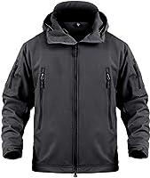 Softshell Jackets Fleece Lined Water Repellent Tactical Jackets Winter Windproof Coat for Men Black