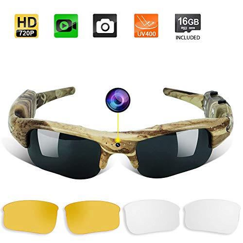 Videocamera Nascosta Occhiali da Sole - Telecamera da Caccia Videocamera Tascabile con Lente UV400, Supporto per Scattare Foto e Registrare la Voce, Scheda di Memoria da 16GB Integrata