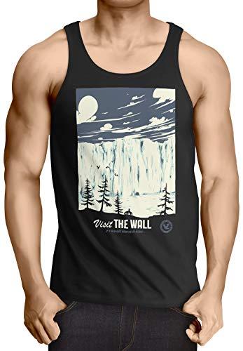 style3 El Muro Camiseta de Tirantes para Hombre Tank Top T-Shirt Nieve Guardia de la Noche John invernalia Snow, Talla:2XL