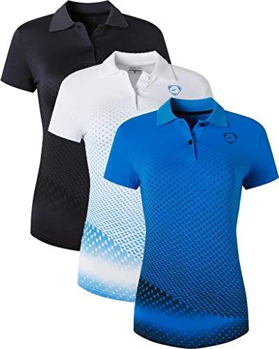 jeansian 3 Packs Damen Sport Poloshirt Polo Tee Shirt Tshirt T-Shirt Kurzarm Golf Tennis Badminton Dry Fit SWT251 PackC S