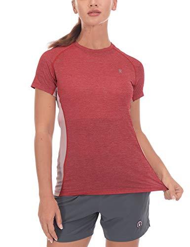 Little Donkey Andy Damen-T-Shirt, schnelltrocknend, UV-Schutz, kurzärmlig, Damen, rot, Medium