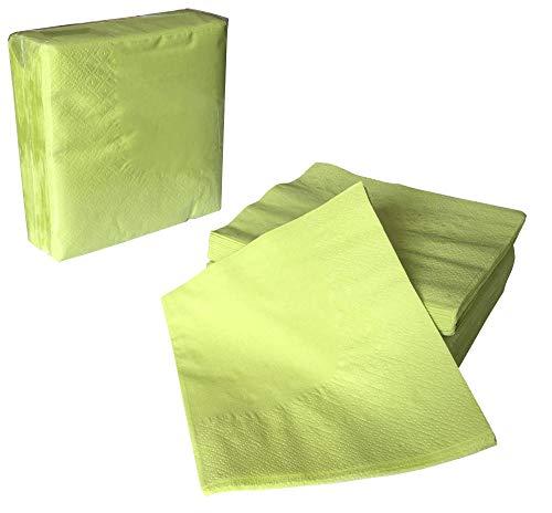 Zellstoff-Servietten zweilagig 24x24 (gefaltet 12x12) - hellgrün - 100 Stück