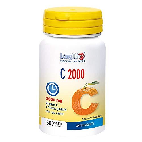 Long Life - C 2000-30 tavolette a rilascio graduale | Vitamina C, Rosa Canina, apparato respiratorio, raffreddore, vitamine e minerali