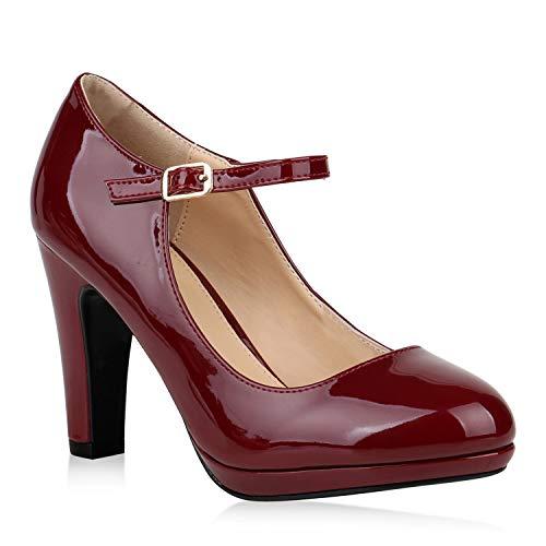Damen Pumps Mary Janes Blockabsatz High Heels T-Strap 155276 Dunkelrot Lack Agueda 38 Flandell