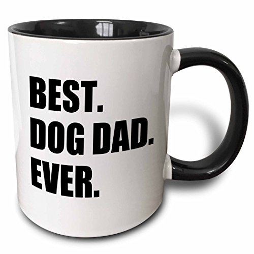 3dRose Best Dog Dad Ever - Fun Pet Owner Gifts For Him - Animal Lover Text Two Tone Mug, 11 oz, Black