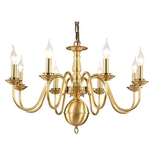 Lámpara de techo de cobre para salón, restaurante, Villa para casa, dormitorio, sala de estudio, cocina, vela colgante [clase energética A +]