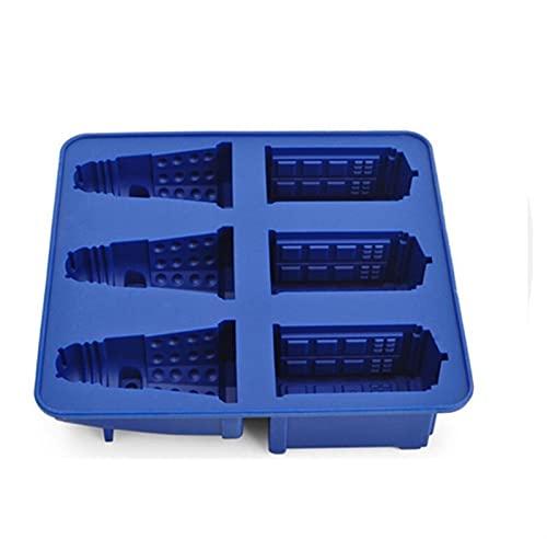 molde hielo cubiteras 1 unids Doctor Hielo Cube Bandeja Moldes de hielo 3 unids y cookies Molde Molde Fondant Molde Hele Cream Herramientas (Color : Blue)