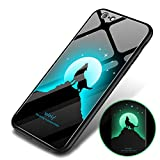 Wolf Case for iPhone 6 Plus/iPhone 6S Plus Wolves case,Feimeng Luminous Noctilucent Tempered Glass Hard Back and Durable Light Shockproof Slim Fit Shell Cover for iPhone 6S Plus/iPhone 6 Plus(Wolf)