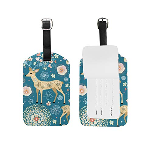 Chic Houses Cartoon Cute Sika Deer Travel Labels Luggage Tag Creative Animal Pattern Flower Childish for Women Name Card Holder for Baggage 2030072