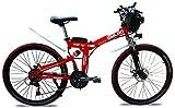 Bici electrica, 26' Electric Mountain Bici Plegable eléctrico con extraíble 48V 500W 13Ah Batería de Iones de Litio for MAX Adultos Velocidad es 40 km/h, Rojo (Color : Red)