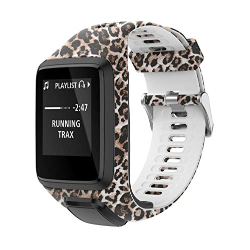 PATROHOO Bands for Tomtom Runner 2/3 Strap,Compatible with Spark 3/Golfer2/Adventurer,Rubber Replacement Band for Screen Protector-GPS Smart Watch Accessories.(Leopard)
