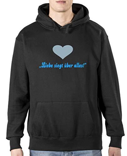 Comedy Shirts Sweat à capuche pour homme avec inscription « Liebe siegt ueber Alles » - Noir - Taille L