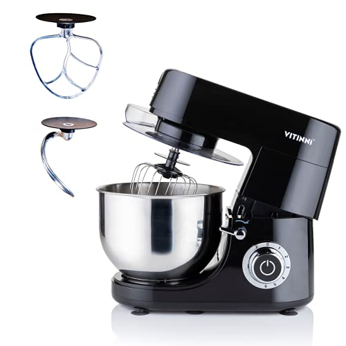 6L Food Stand Mixer 1500W Planetary Action with Balloon Whisk, Flat Beater and Dough Hook | Stainless Steel Mixing Bowl and Splash Guard | Includes Digital Timer (Black)