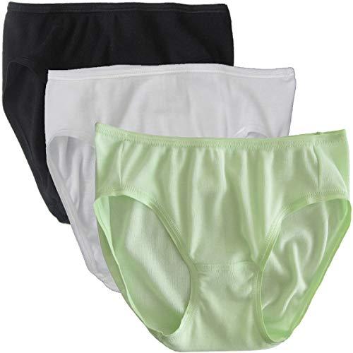 HERMKO 2130 3er Pack Mädchen Slip aus 100% Bio-Baumwolle, Farbe:Mix w/s/LIM, Größe:104