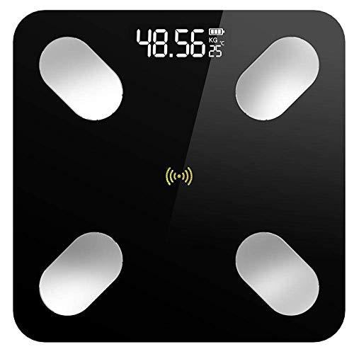 Shisyan Equipos de excavación de baño escala, la escala de grasa corporal Equilibrio, balance de la escala de análisis inteligente de LED electrónico digital Peso Bluetooth, 180Kg, Negro Básculas digi