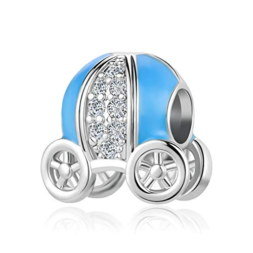 SBI Jewelry Sparkling Princess Carriage Charm for Bracelet Blue Pumpkin Car Bead Charm Gift for Best Friend Girlfriend