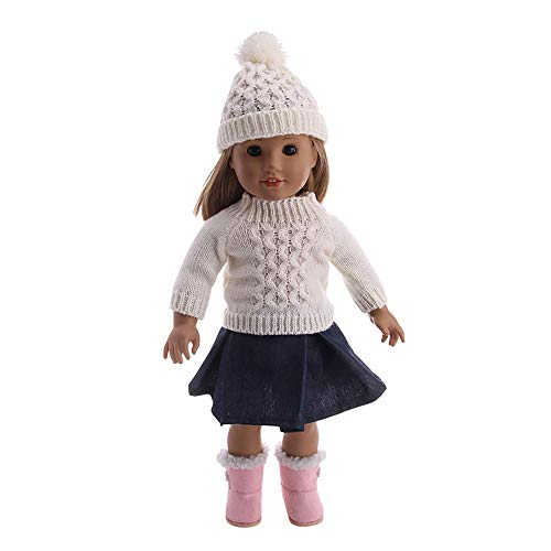 YUYOUG_Doll Clothes , 3Packs Winter Warm Clothes Sweater Top+ Skirt + Cap Sets For 18 Inch Our Generation American Girl Doll Accessory Girl Chirstmas Gift Toy