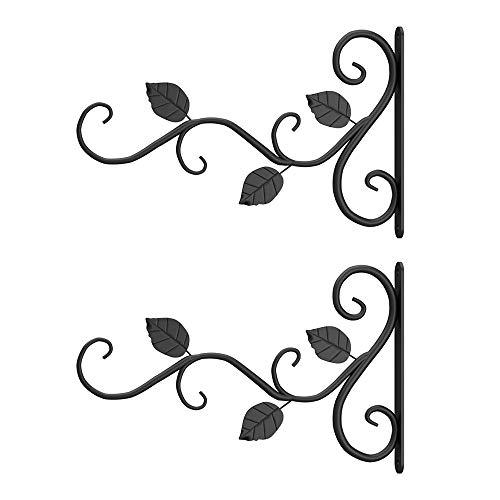 JTWEB 2 Stücke Wandhalter Blumenampel, Pflanzenhalterung Blumenampelhalter,Metall Haken Wand Wandhalterungen aus Schmiedeeisen mit Schrauben für Garten, Windspiele 30X18CM