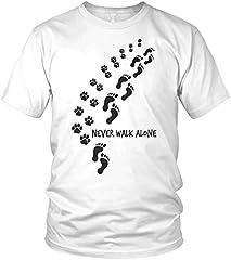 Camiseta Hombre con Eslogan Never Walk Alone Dog Paws Dog Motif