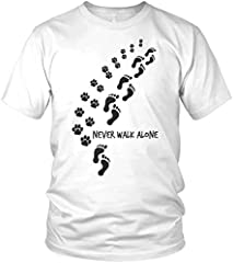 Camiseta Hombre con Eslogan Never Walk Alone Dog Paws Dog Motif