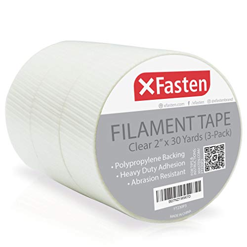 XFasten Filament Duct Tape, Transparent, 2 Inches x 30 Yards (3-Pack), Extreme Fiberglass Reinforced Cross Strapping Tape