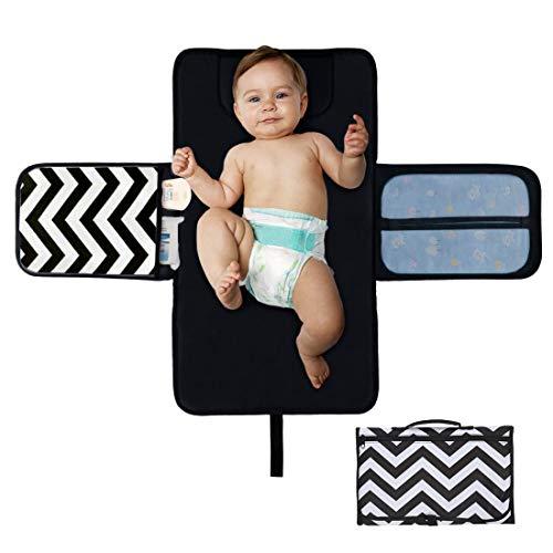 iZiv Cambiador Portátil de Pañales para Bebé, Colchoneta para Cambiar pañales con Bolsillos Cabeza, Kit de Bebé Plegable Impermeable para Viajes en Casa