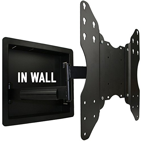 In Wall Recessed Full Motion TV Mount with Zero Clearance for 32 to 55 Inch TVs LCD, LED, or Plasma - Extends 19 Inches