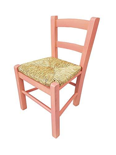 Chaise bébé en bois avec assise en paille, chaise pour enfant (rose)