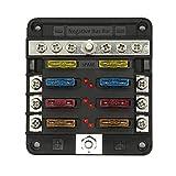 ANCLLO Bloque de fusibles de 6 vías con bus negativo - ATC/ATO Caja de fusibles de 6 circuitos, terminales de conexión por perno, 70 piezas de etiqueta adhesiva, para barco de 12 V / 24 V