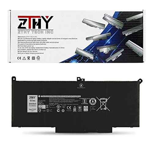 ZTHY 60Wh F3YGT Laptop Battery for Dell Latitude 12 7000 7280 7290/13 7000 7380 7390 P29S002/14 7000 7480 7490 P73G002 Series DM3WC DM6WC 2X39G KG7VF 451-BBYE 453-BBCF 7.6V 4-Cell