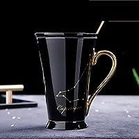 YASE-king セラミックカップカップホワイトとゴールド磁器中国コーヒーミルクカップステンレス製のスプーンセラミックマグ