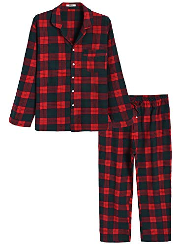 Image of Green and Red Plaid Flannel Cotton Pajamas for Men - See More Colors