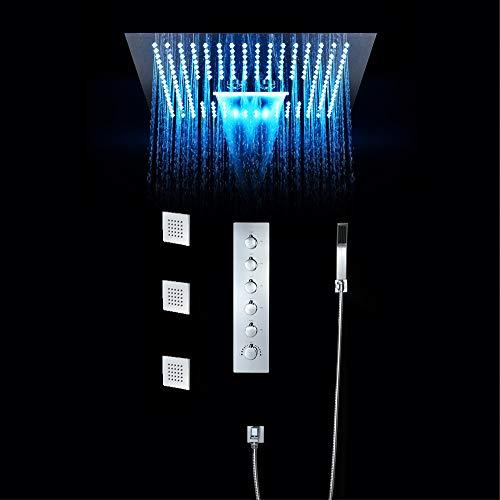 BILLY'S HOME LED Regendusche Wasserhahn-Set, Duschkopf Regennebel SPA 3 Möglichkeiten, verborgen mit 3 Massage-Körperdüsen, Deckeneinbau