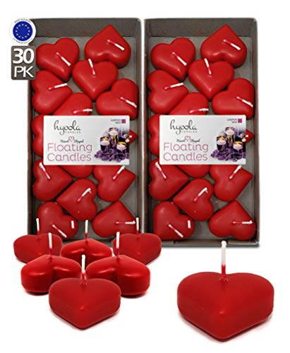 Hyoola Premium Red Heart Floating Candles - Love Shaped Candles - 1.8 Inch - 2 Hour - 30 Pack - European Made