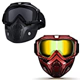 Motorcycle Helmet Riding Goggles Glasses With Removable Face Mask,Detachable Fog-proof Warm Goggles Mouth Filter Adjustable Non-slip Strap Vintage Bullet Fight Motocross Black & Red Grid Set