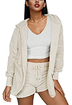 Pink Wind Women Fuzzy Fleece 3 Piece Sets Outfits Soft Sherpa Jacket Coat and Crop Top Shorts Set Beige White S