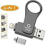 Chiavetta USB 128GB per iPhone,QARFEE USB Flash Stick 3.0 Flash Drive USB 4-in-1 Memoria USB Con design ad anello per Dispositivi con Apple/Android/iPad/USB/Micro USB/Tipo C Porta (128GB, grigio)