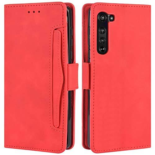 HualuBro Motorola Edge Hülle, Magnetischer R&umschutz, stoßfest, Flip Leder Wallet Hülle Cover mit Kartenschlitzen für Motorola Moto Edge 5G Handyhülle (rot)