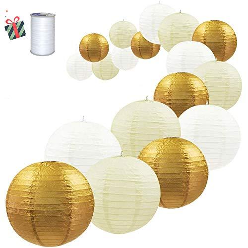Treer Rond Lanternes de Papier Colorées, 18pcs Décorations Chinoises en Papier Suspendu pour Lanternes à Boule Lampes Fête de Noël Décoration de Mariage (d'or)
