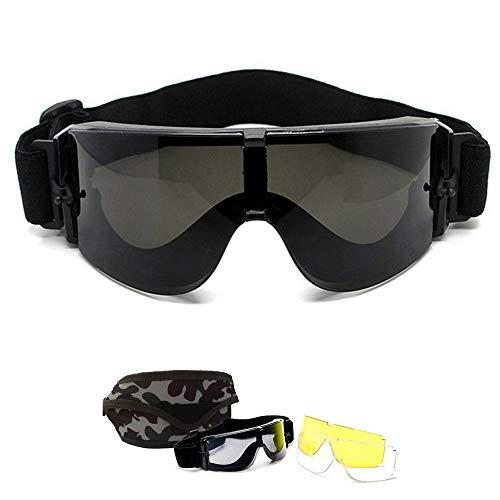 Bemodst X800 Military Tactical Schutzbrille Armee Wind Proof UV Schutz Helm Schutzbrille mit 3 Farben austauschbar Objektiv für Motorrad Radfahren Airsoft Paintball Planspiel Shooting Jagd