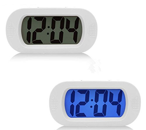 Moon mood® Klein Desktop Kleine Wecker Mini Einfache Silent Alarm Digital LCD Wide Screen Snooze/Bright-Funktion Batterien mit Silikonhülle (Weiß)