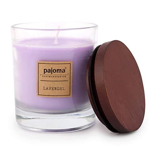 Pajoma geurkaars lavendel, 180 g, in glas met houten deksel, NIEUW Premium Edition, voor ongeveer 25 uur