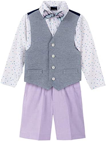 Nautica Boys Toddler 4 Piece Set with Dress Shirt Tie Vest and Shorts Lilac ash 3T product image