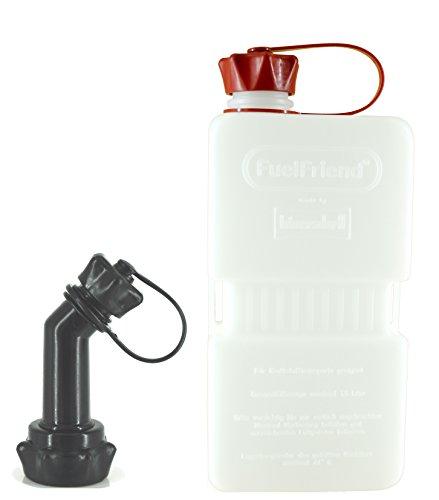 FuelFriend®-Plus Clear 1,5 Liter - Klein-Benzinkanister Mini-Reservekanister + verschließbares Auslaufrohr