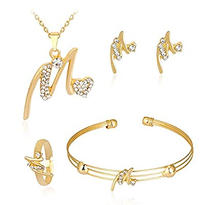 iLH Deals 4 Pcs Jewelry Sets Women Personality Rhinestone Necklace Bracelet Ring Earrings Jewelry Set Romantic Gift by ZYooh (A)