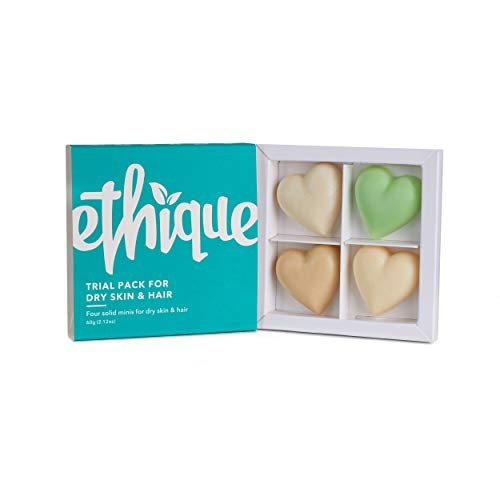 Ethique Eco-Friendly Trial Pack for Dry Skin and Hair, 4 Piece Variety Pack Beauty Bar Set - Natural Sustainable Beauty Kit, Plastic Free, Vegan, Plant Based, 100% Compostable and Zero Waste, 4 bars