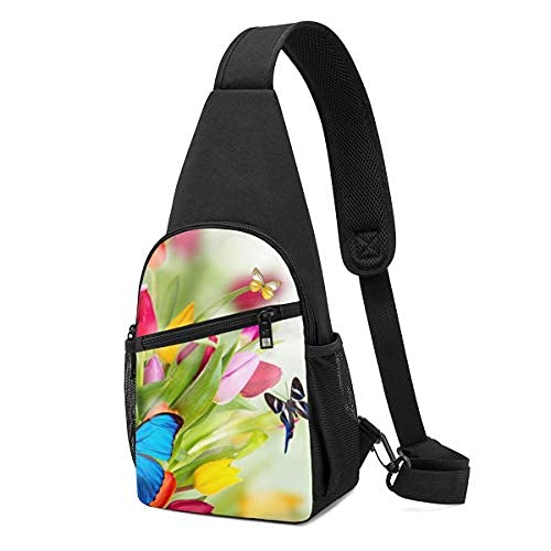 Butterflies On The Colorful Spring Flowers Sling Mochila bandolera bandolera