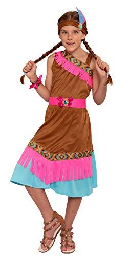Magicoo Disfraz de india para niña, tallas 110, 116, 122, 128, 134, 140, disfraz infantil de india (122/128)